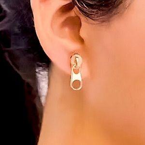 ⚜️[𝟯/$𝟭𝟴]⚜️Gold Zipper Simple Earrings NEW